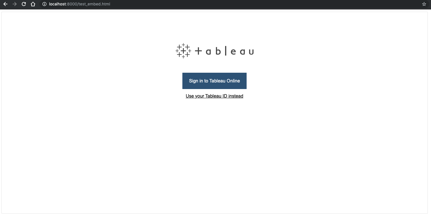 Embedded Analytics application - Tableau Online sign in using OneLogin (SAML)