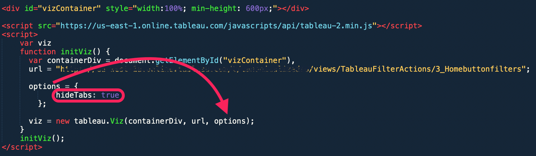 Tableau JS API