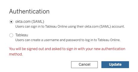 Tableau Online - configuring a user's authentication to okta.com (SAML)