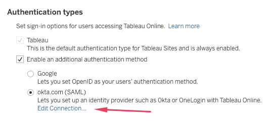 Tableau Online enable an additional authentication method - Okta (SAML)