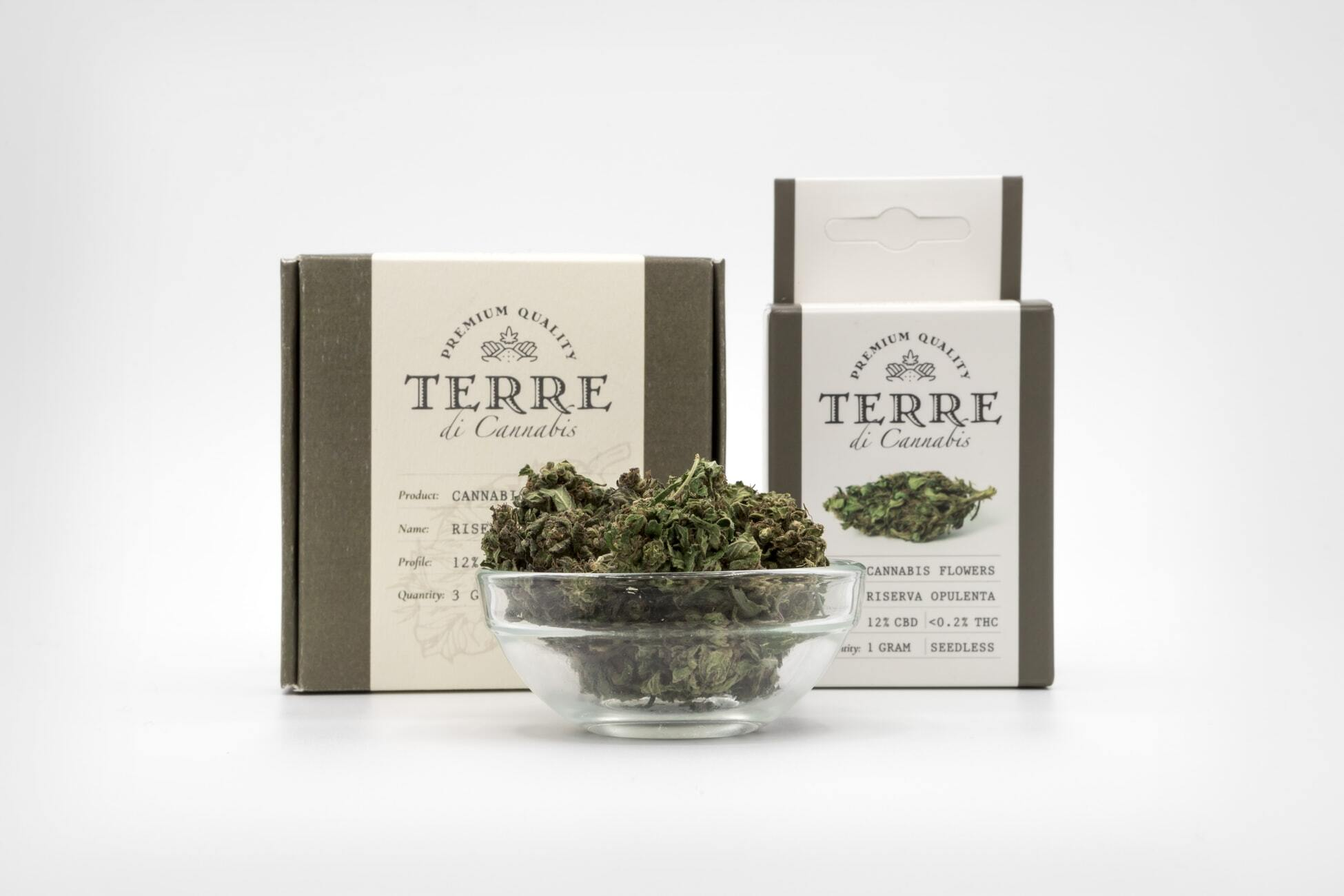 Cannabis in a bowl next to packaged products.
