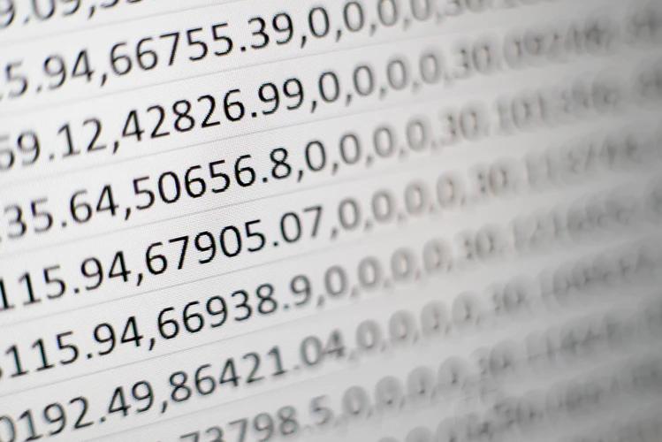 close up image of numbers in a csv file
