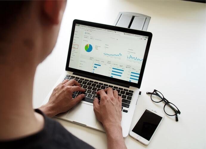 Data scientist working on a dashboard