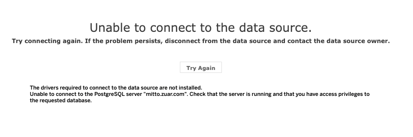 Error: Unable to connect to the data source.