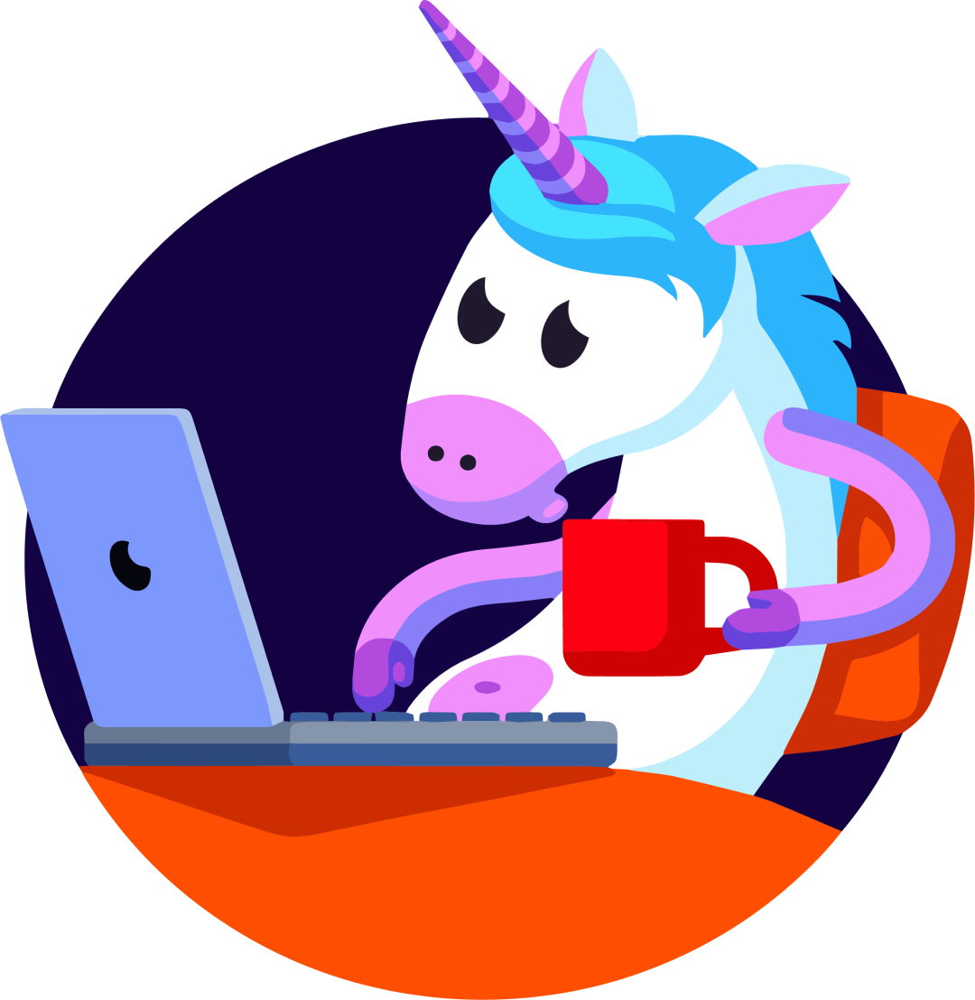 Unicorn working at a computer